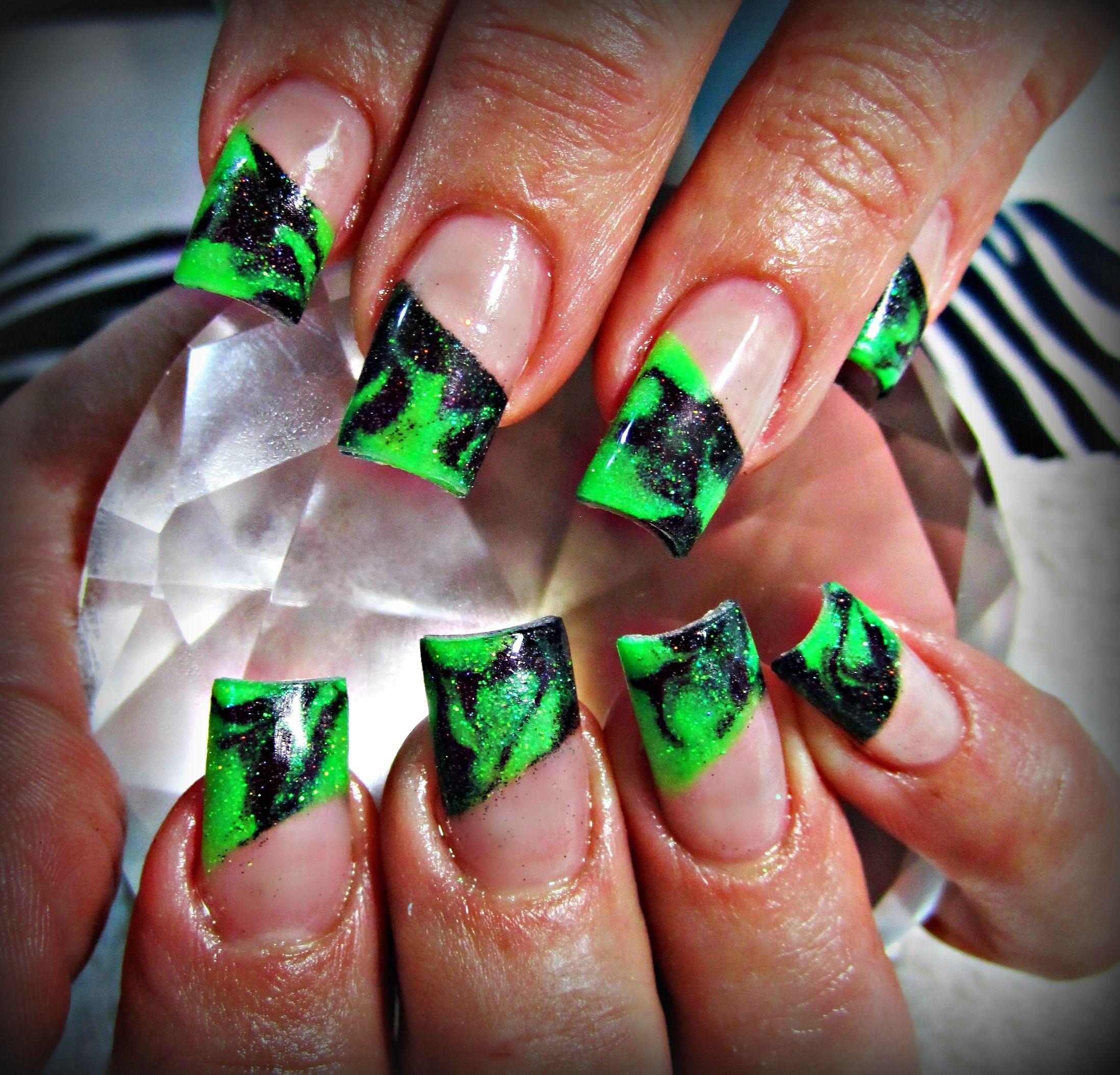 Neon marble acrylic nails | Nails | Pinterest