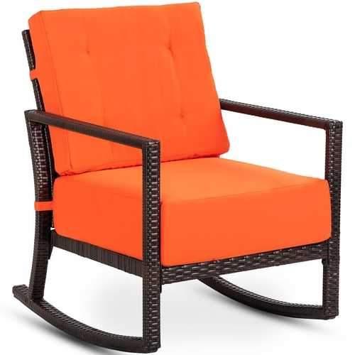 Patio Rattan Rocking Chair Rocker Armchair With Cushions Rattan