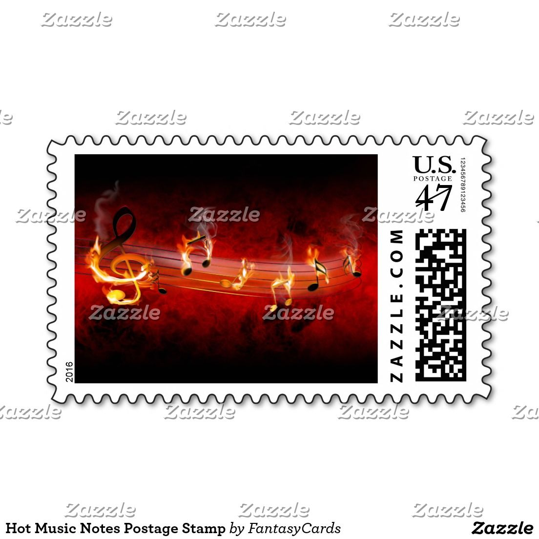 Hot Music Notes Postage Stamp | Music notes