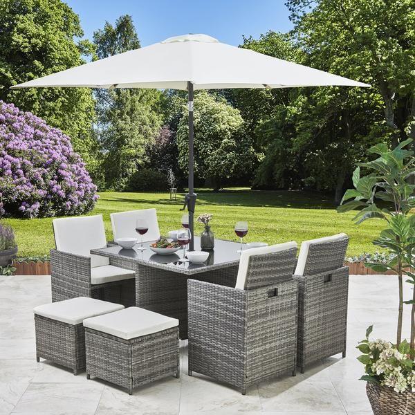 8 Seater Rattan Cube Dining Set With Parasol Outdoor Garden Furniture Grey Weave Gardening Ideas Outdoor Garden Furniture Garden Furniture Outdoor