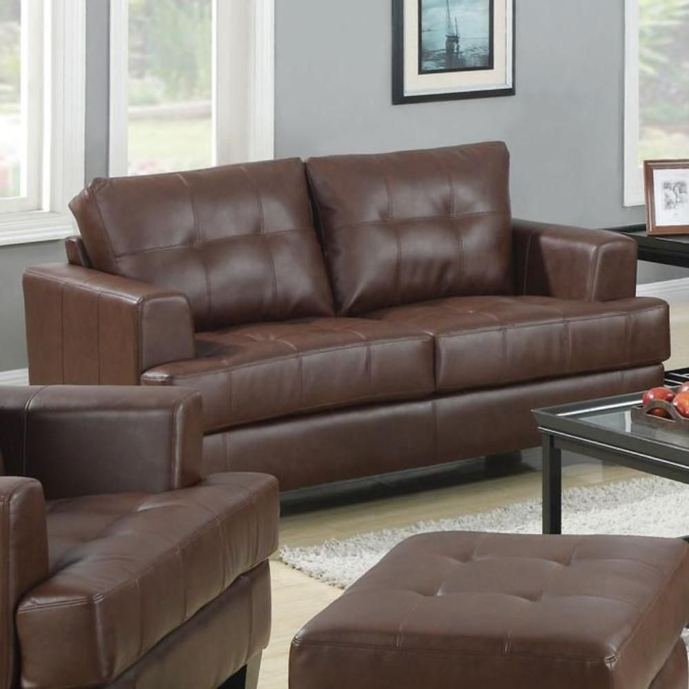 Contemporary Wood & Leatherette Loveseat With Cushioned