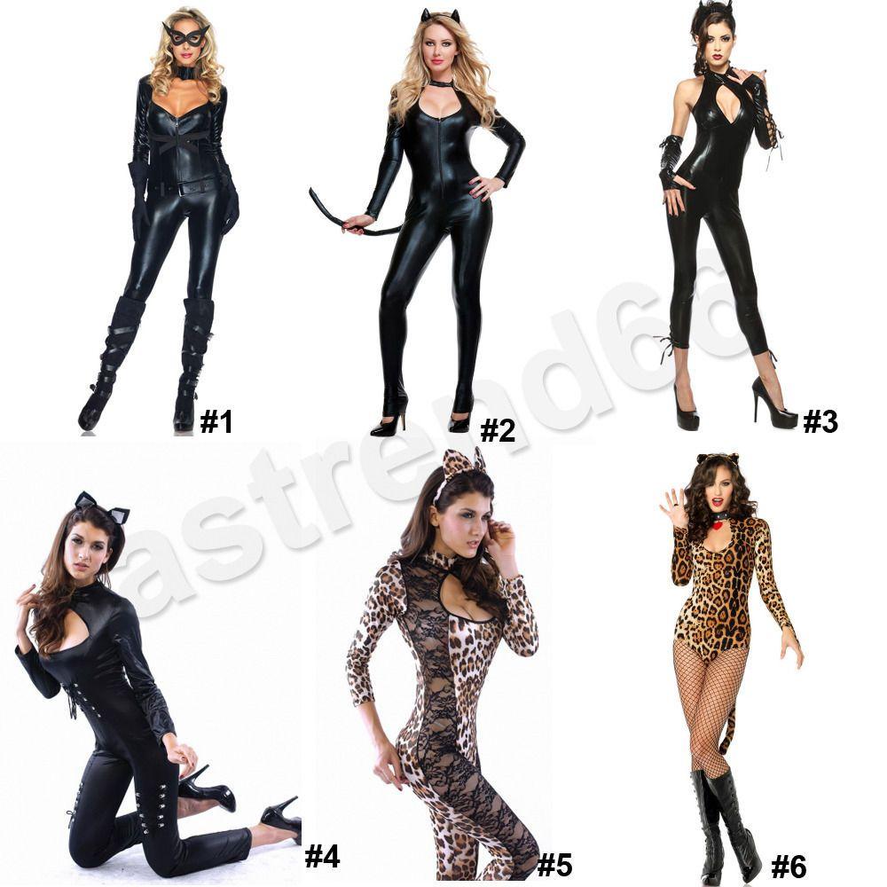 sexy cat woman costume halloween adult super hero justice feline catsuit cosplay - Heroes Halloween Costumes