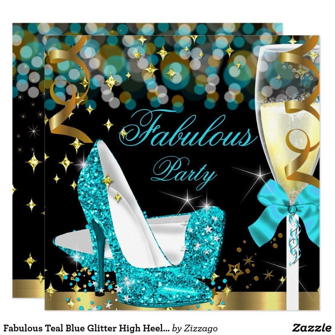 Teal Iphone Wallpaper: Fabulous Teal Blue Glitter High Heel Birthday 2 Card