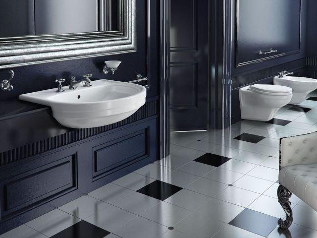 salle-bain-luxueuse-esprit-rétro-noir-blanc | Salle de bains ...