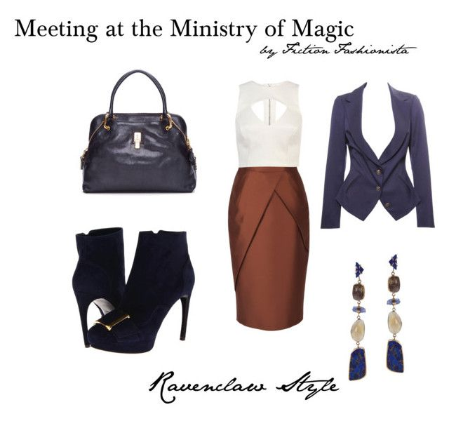 Meeting at the Ministry - Ravenclaw by eva-gabrielle-thompson on Polyvore featuring polyvore, fashion, style, River Island, Vivienne Westwood, Andrew Gn, Alexander McQueen, Marc Jacobs and clothing