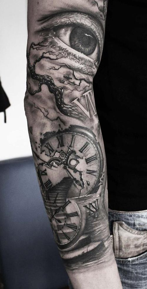 Realistic Eye Clock Stairway Sleeve With Branches Of A Tree Guys Arm Tattoo By Mario Hartmann Timeless Tattoo Tattoo Sleeve Designs Sleeve Tattoos