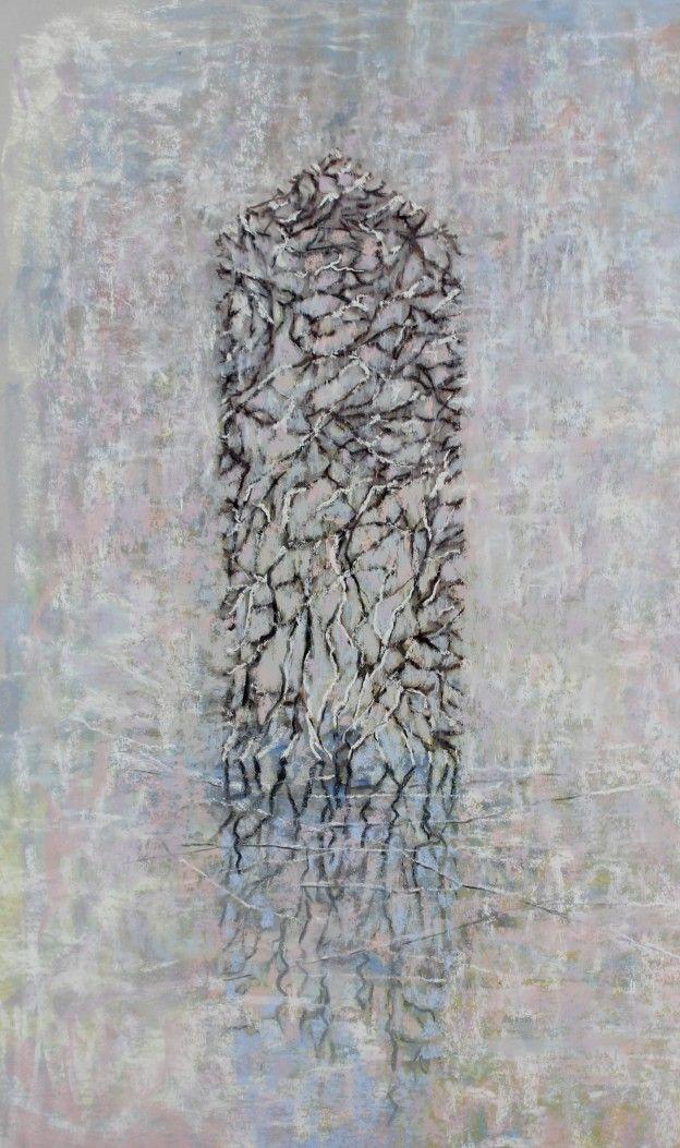 "Pirkko Mäkelä-Haapalinna, ""Shelter Me,"" 2015, pastel on light grey PastelMat, 24 3/8 x 13 3/4 (62 x 35cm)"