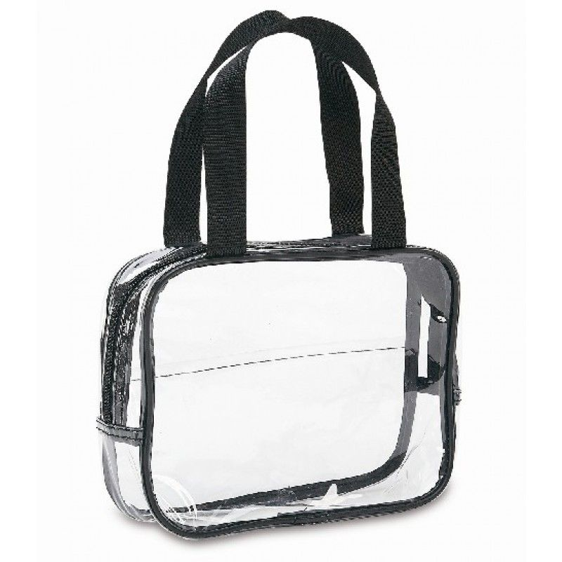 Clear Cosmetic Bag With Handles Black