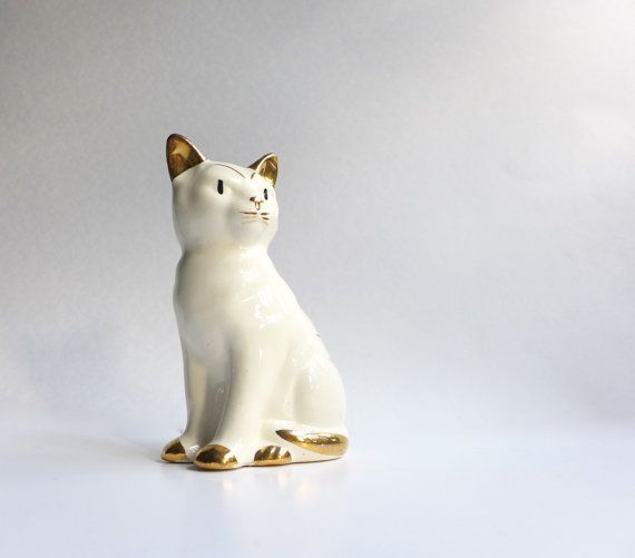 Mid-Century Modern Ceramic Cat Gold Leaf by JunkFiendModern
