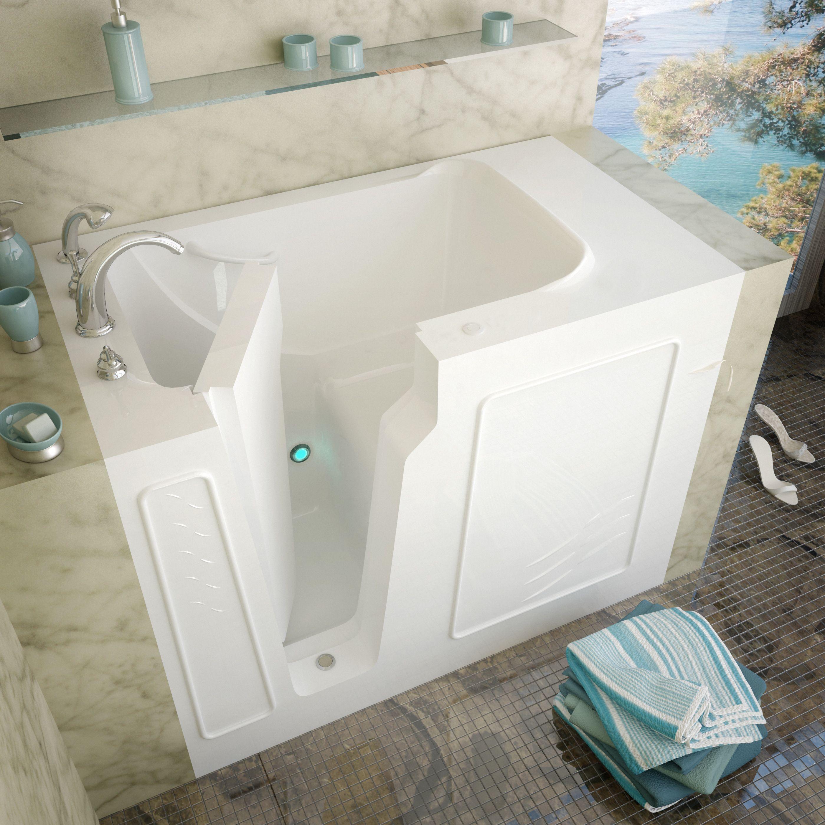 Meditub 29x52 Inch Left Drain White Soaking Walk In Bathtub Walk