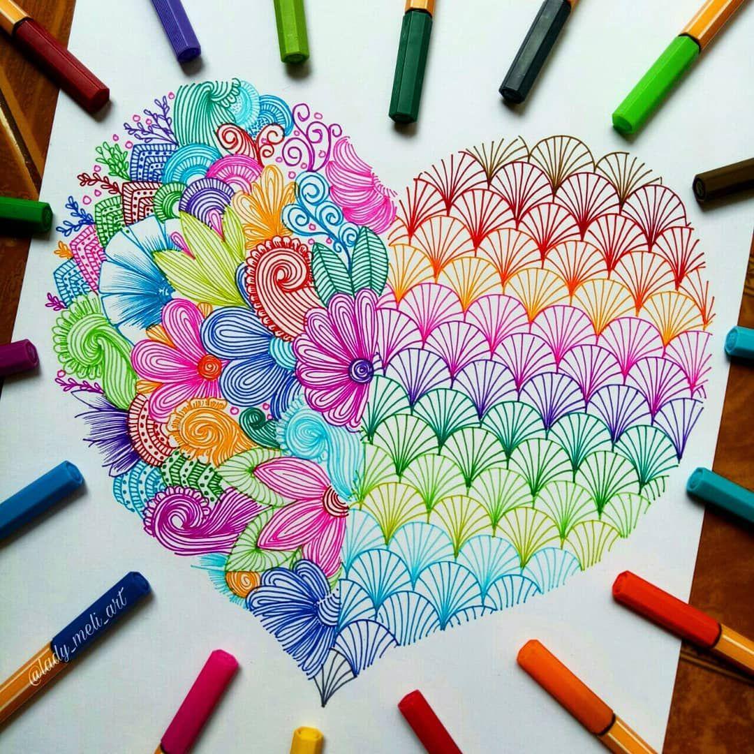 Mandalas Zentangles Doodles On Instagram I Don T Remember How Many Times I Drew Heart I Just Doodle Art Designs Mandala Art Lesson Mandala Drawing