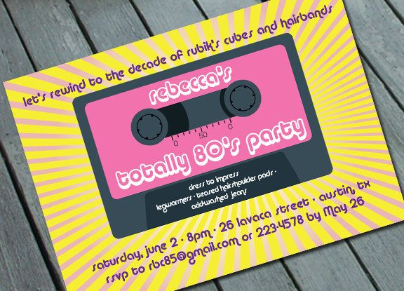 TOTALLY 80s PARTY Invitation Digital printable file printing – 80s Party Invitation Wording