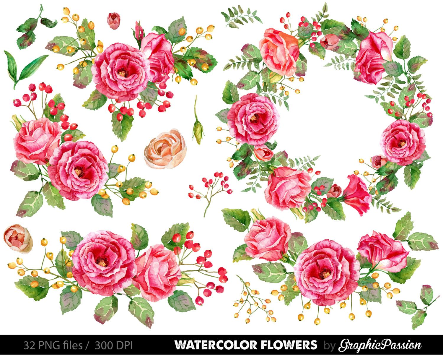 Watercolor Flower Clipart Wedding Floral Clip Art Bouquet Flowers
