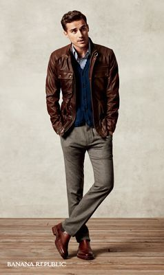 An iconic rugged leather jacket is a fresh way to cool off brown ...