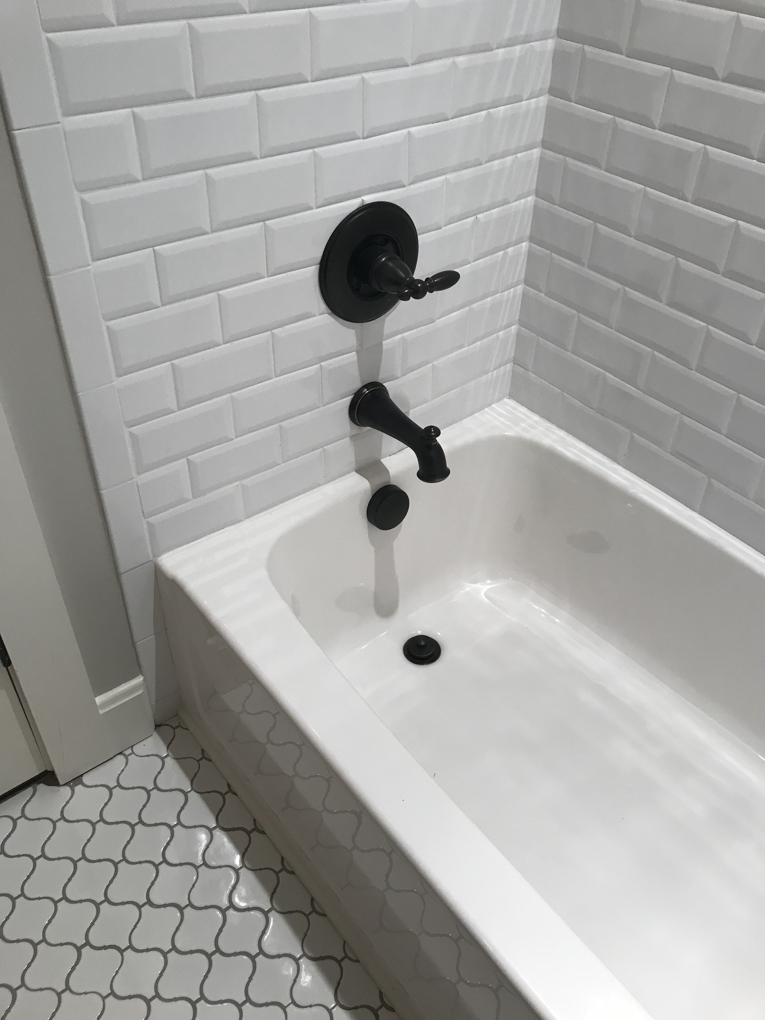 Beveled Edge Subway Tile For The Tub Surround And