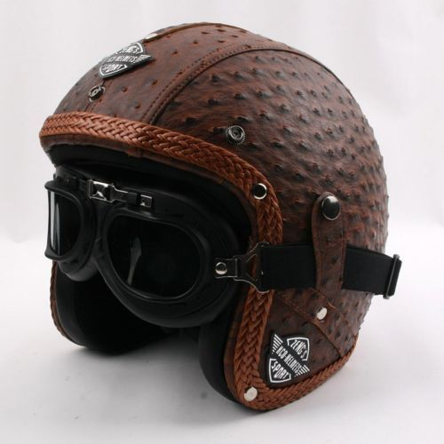 3 4 Open Face Retro Jet Scooter Bike Motorcycle Helmet Goggles