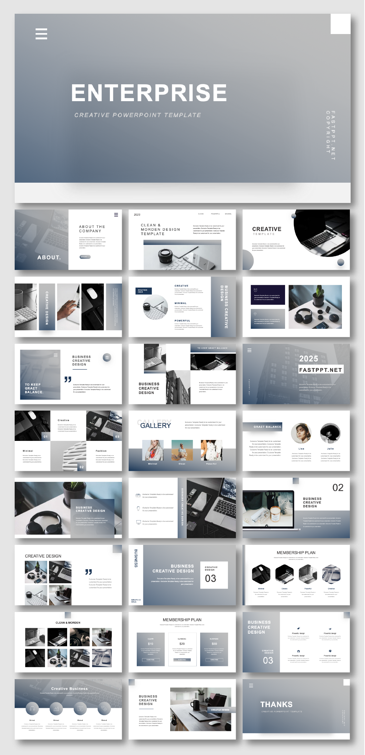 2 in 1 Blue & Gray Business Presentation Template – Original and high quality PowerPoint Templates download