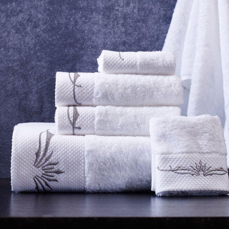 Bath Towels 3 5 Piece White Embroidery Cotton Towel Towel Set