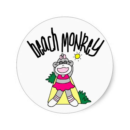 Beach monkey classic round sticker