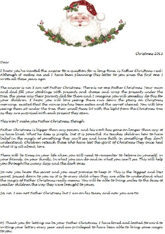 Is Santa real? Every year I write letters from Santa to my