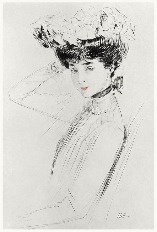Portrait study of the duchess of Marlborough.    Paul Helleu, from Paul Helleu, peintre et graveur (Paul Helleu, painter and engraver), by Robert de Montesquiou, Paris 1913.