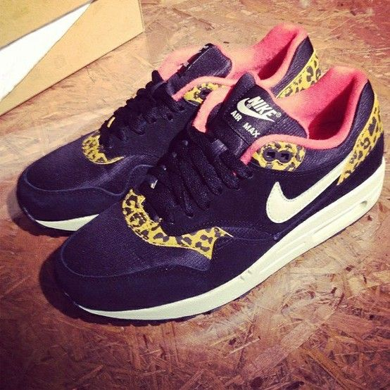 Nike Air Max 1 (l) Black Gold Leopard Sneaker damen