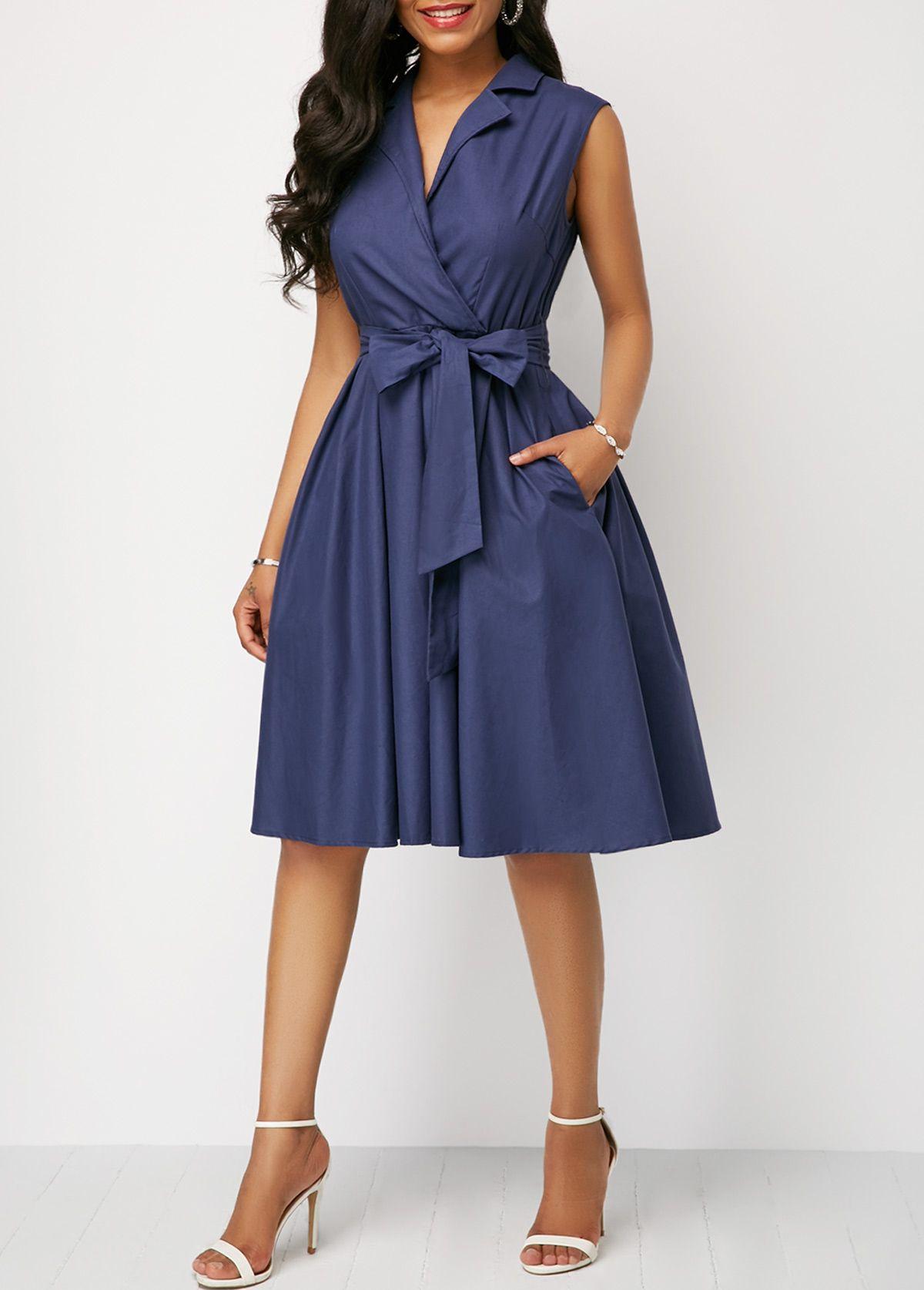 Belted High Waist Navy Blue Dress  Rosewe.com - USD $17.17