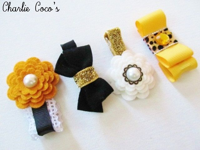 Girls/ Baby Hair Clip Set, Felt Flower and Bows Hair Clips, Flower Hair Clips, Ribbon/ Lace Hair Bows, Black Gold Ivory Hair Clips #babyhairaccessories