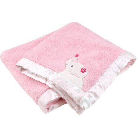 baby blanket newborn soft fleece comforter girls pink star checked Hearts