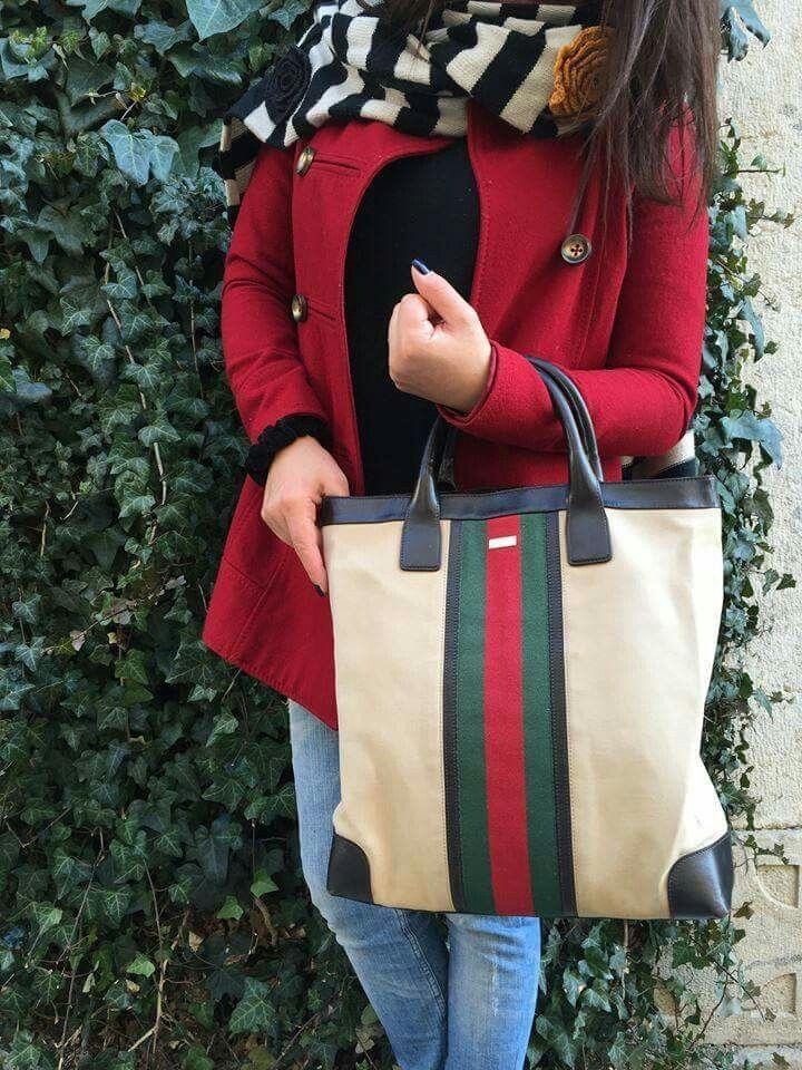 Shopper + tela + banda rosso-verde... Quando Sac plat Cabas Gucci fa rima con svenimenti e pelle d'oca
