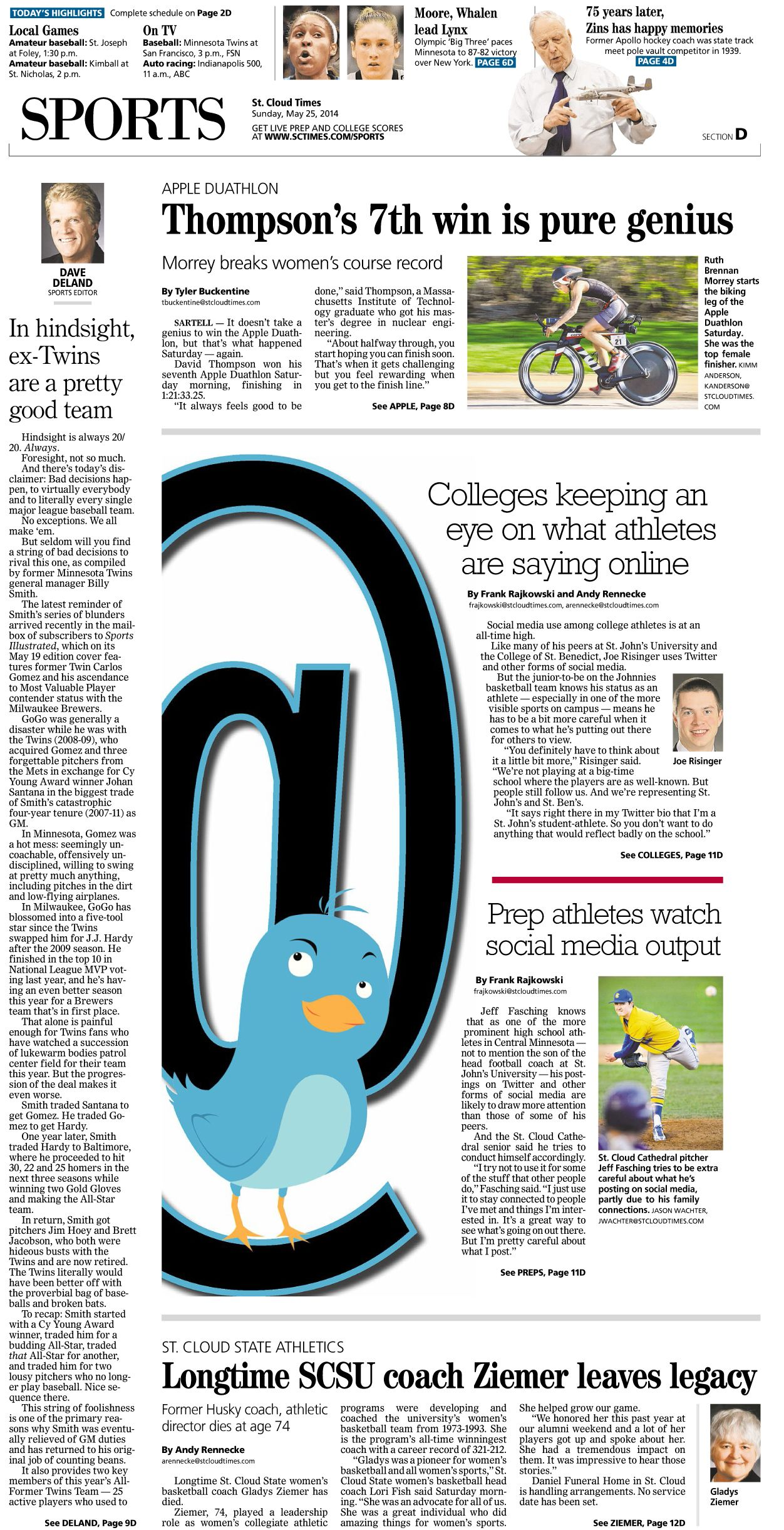 News Design: St. Cloud Times' May 25, 2014 sports cover