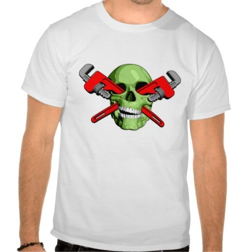 Zombie Plumber T-shirts. Green zombie skull with pipe wrenches through the eye sockets.