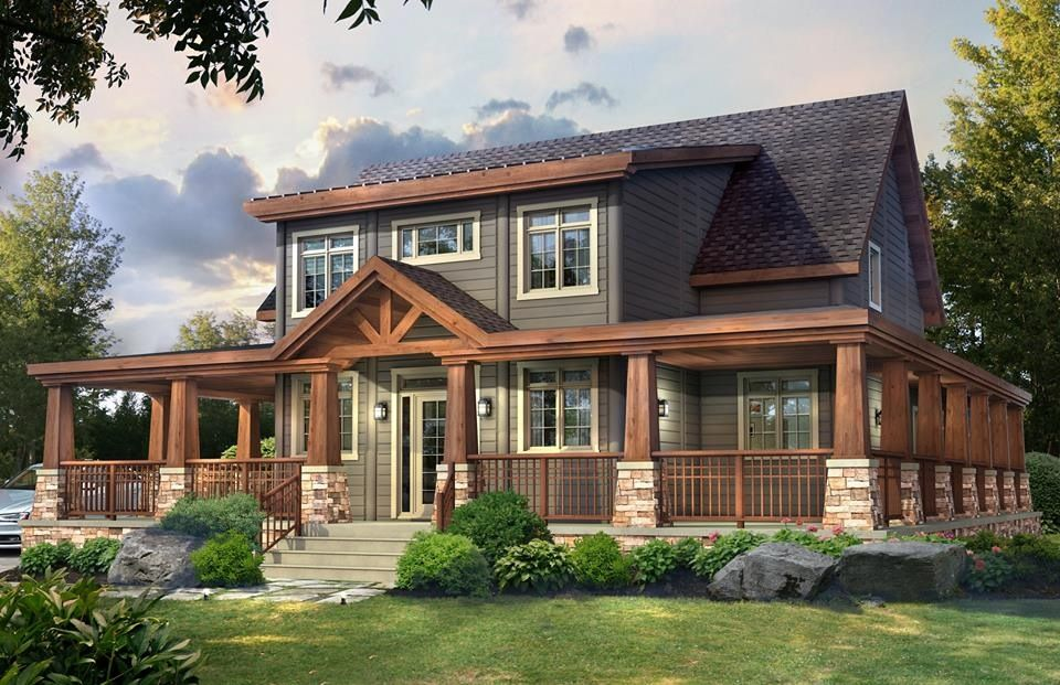 One Of Our Brand New Models From Our Brand New Craftsman Series This Is The Stoneham Model Www Timbe Timber Frame Home Plans Craftsman House Prefab Log Homes