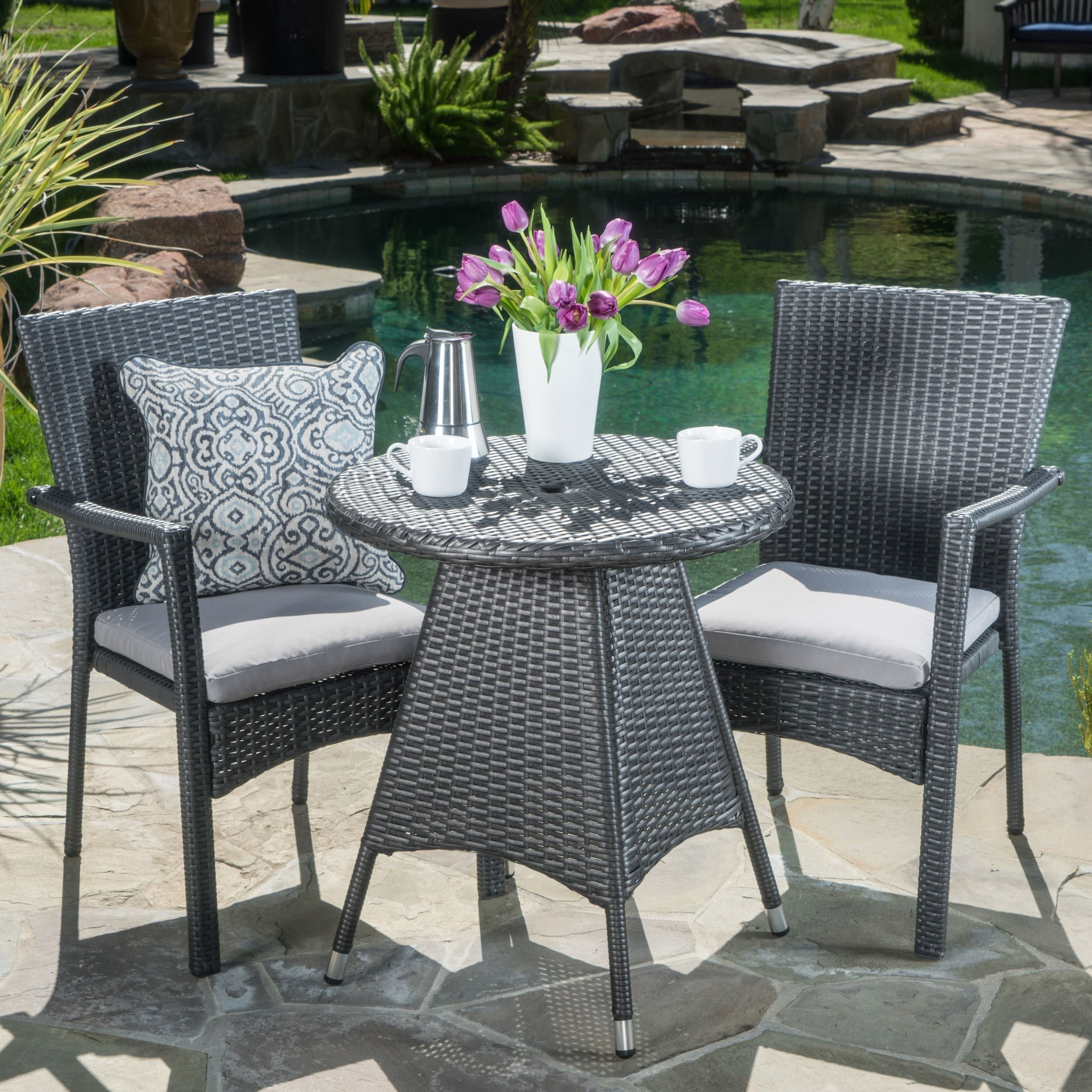 Georgina Outdoor 3 Piece Wicker Bistro Set With Cushions By