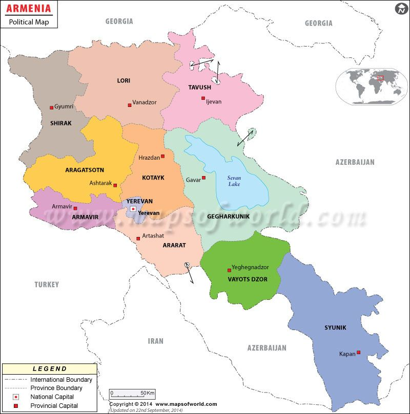 Political Map of Armenia | history in 2019 | Map, Armenia ...