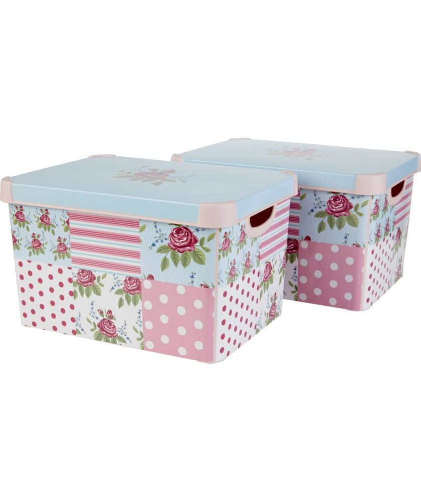 Buy twin pack floral patchwork storage boxes pink at