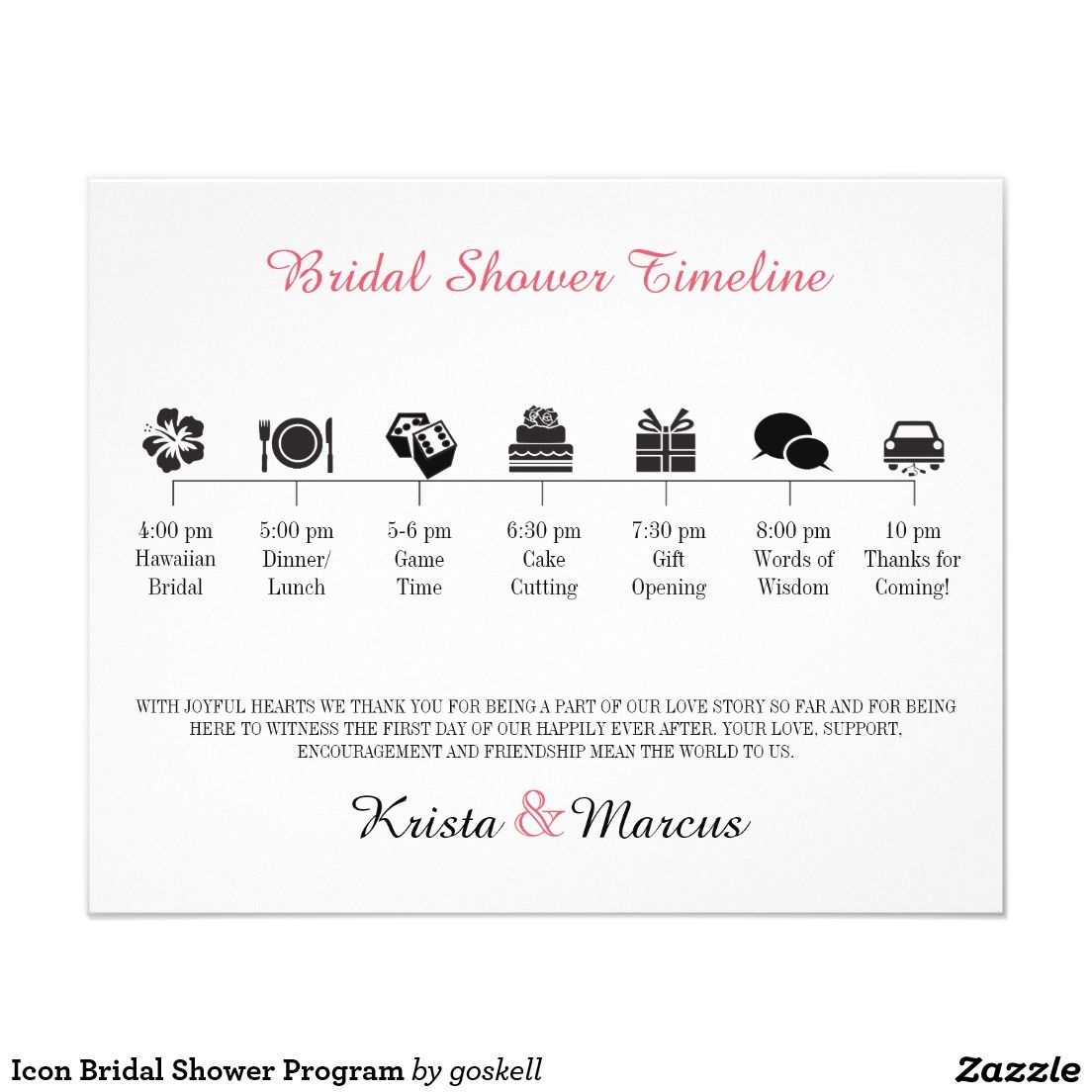 Icon Bridal Shower Program