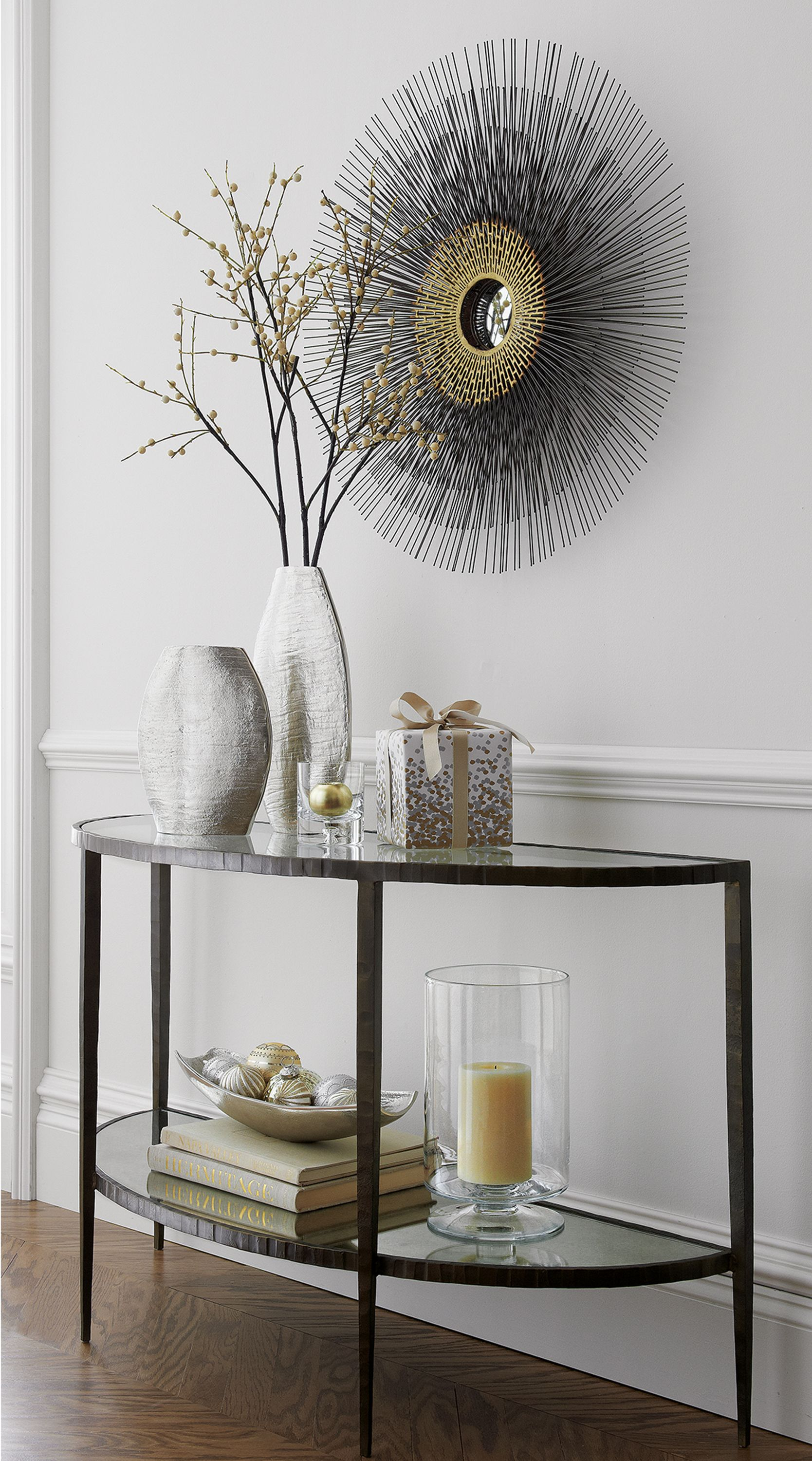 Glass console table decor  Clairemont Demilune Console Table  Decorating  Pinterest  s