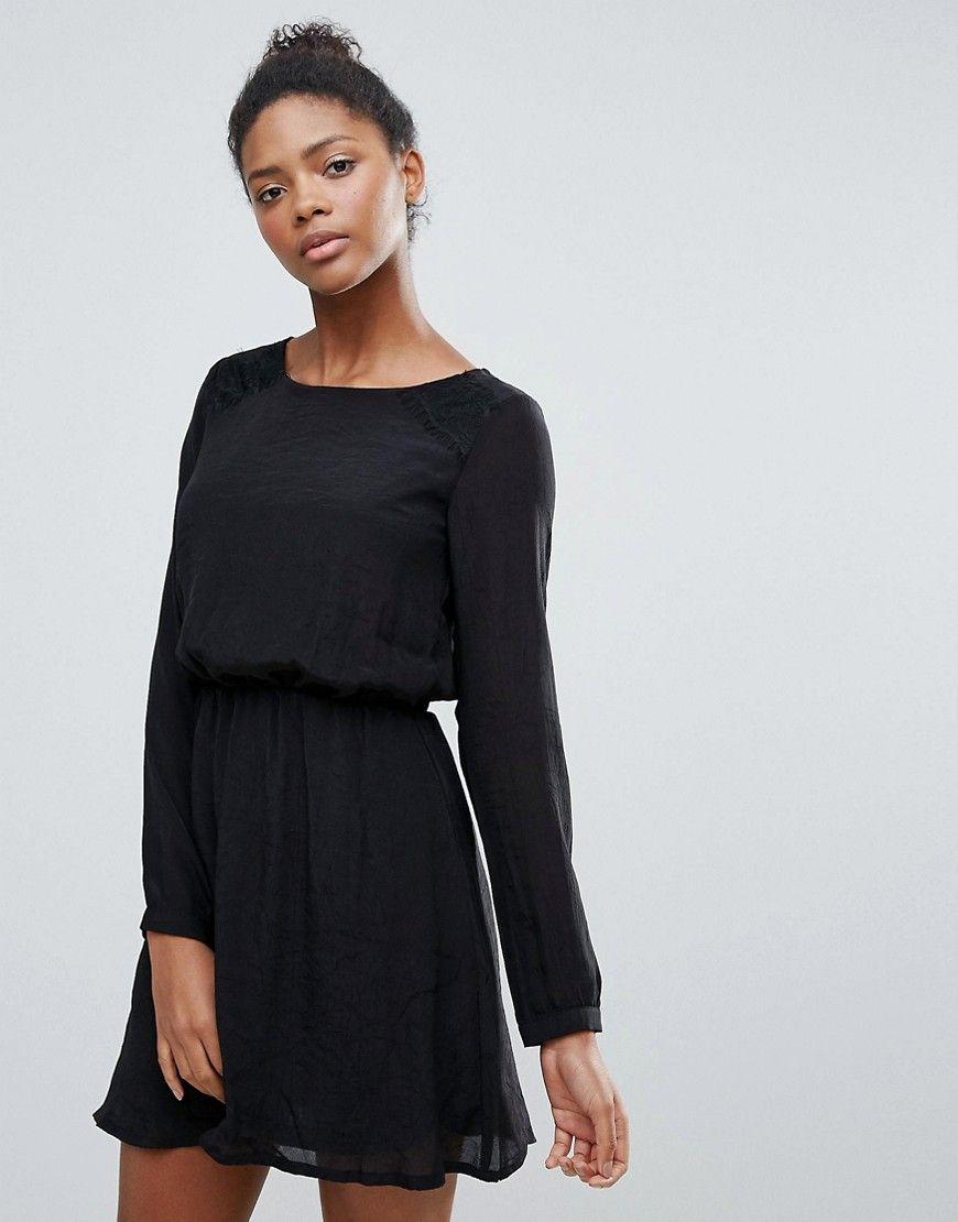 dfd5ad06ced6 Vila Clean Long Sleeve Skater Dress - Black