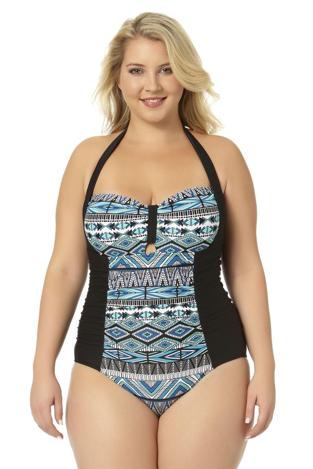 7f07421c29116 Allure Juniors Plus Size Keyhole Front Halter One Piece Swimsuit ...