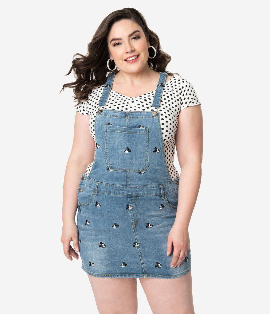 77a686410 Cakeworthy Plus Size Blue Denim Disney Mickey Mouse Jean Overalls Dres –  Unique Vintage