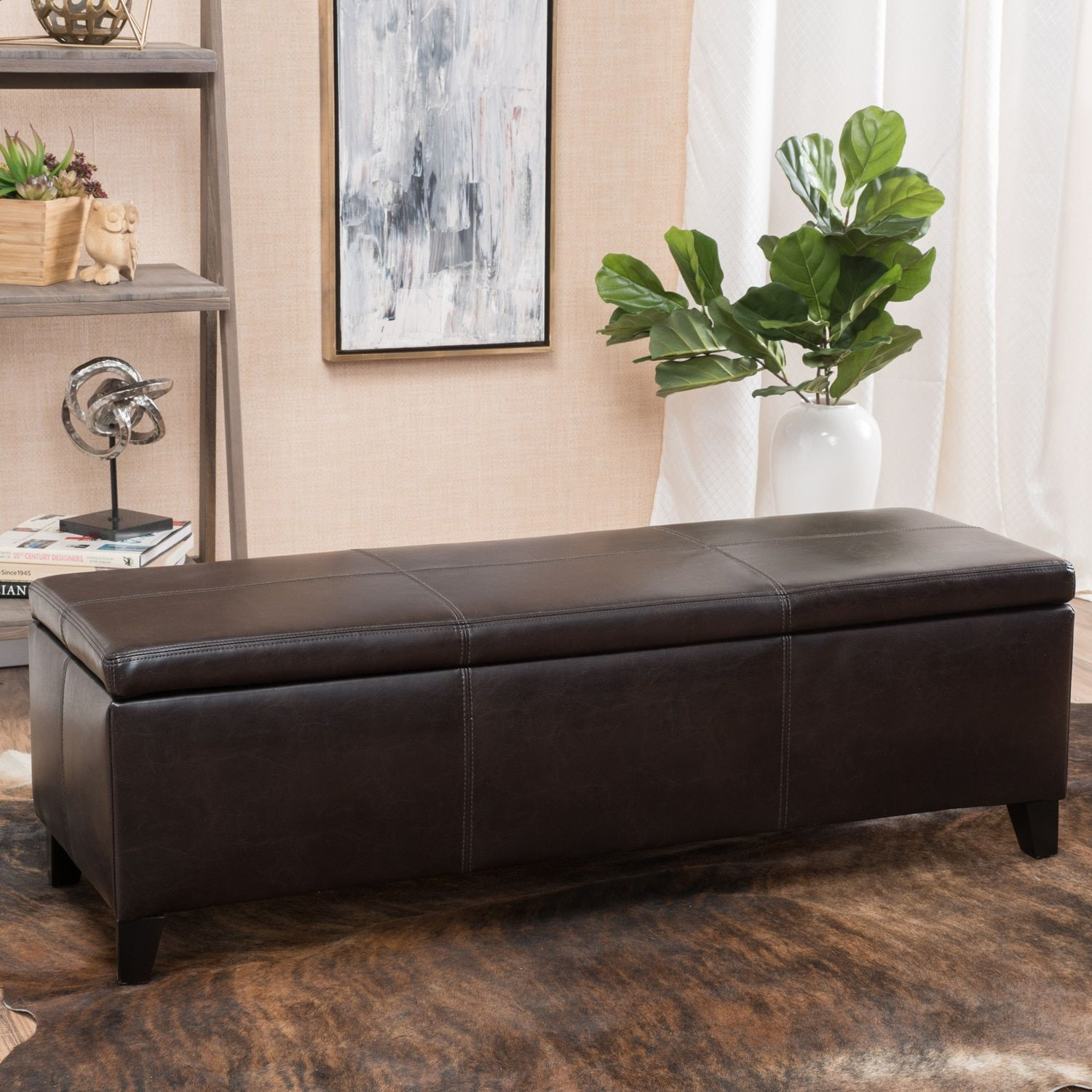 Awesome Brianna Brown Faux Leather Storage Ottoman Products Pabps2019 Chair Design Images Pabps2019Com