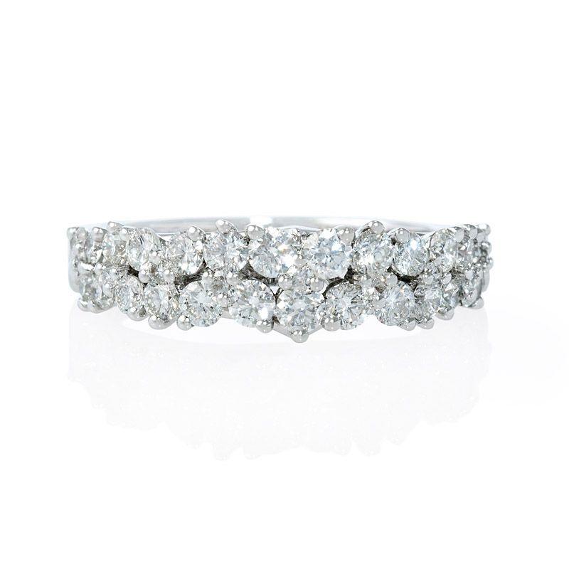 100ct Diamond 18k White Gold Cluster Wedding Band Ring Wedding