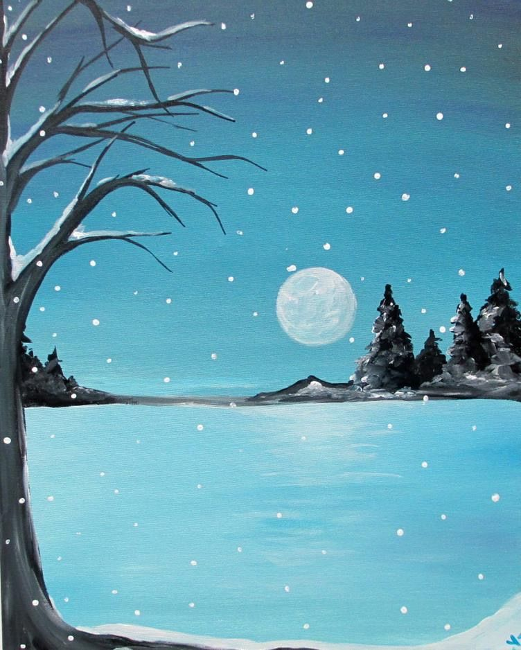 Simple Snow Winter Landscape Painting Easy Landscape Paintings Scenery Paintings