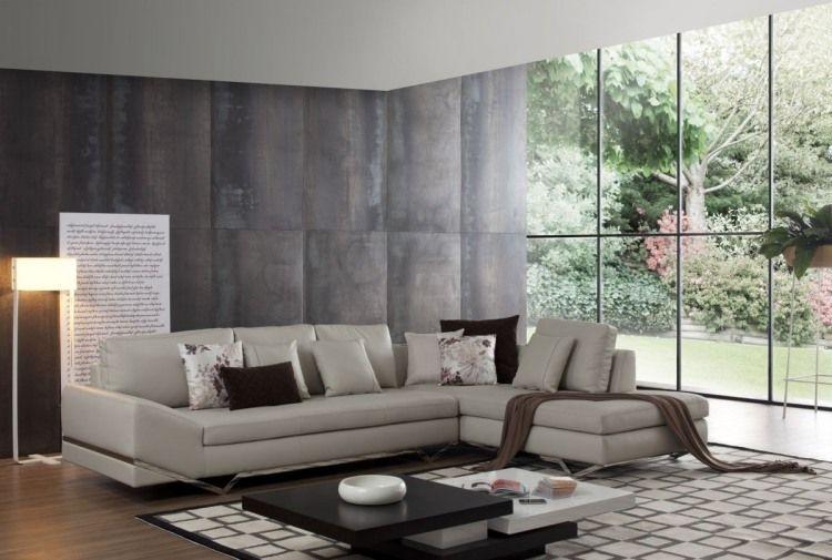 Fensterwand in geräumigen Wohnzimmer in Grau Hausbau Pinterest - wohnzimmer modern beige