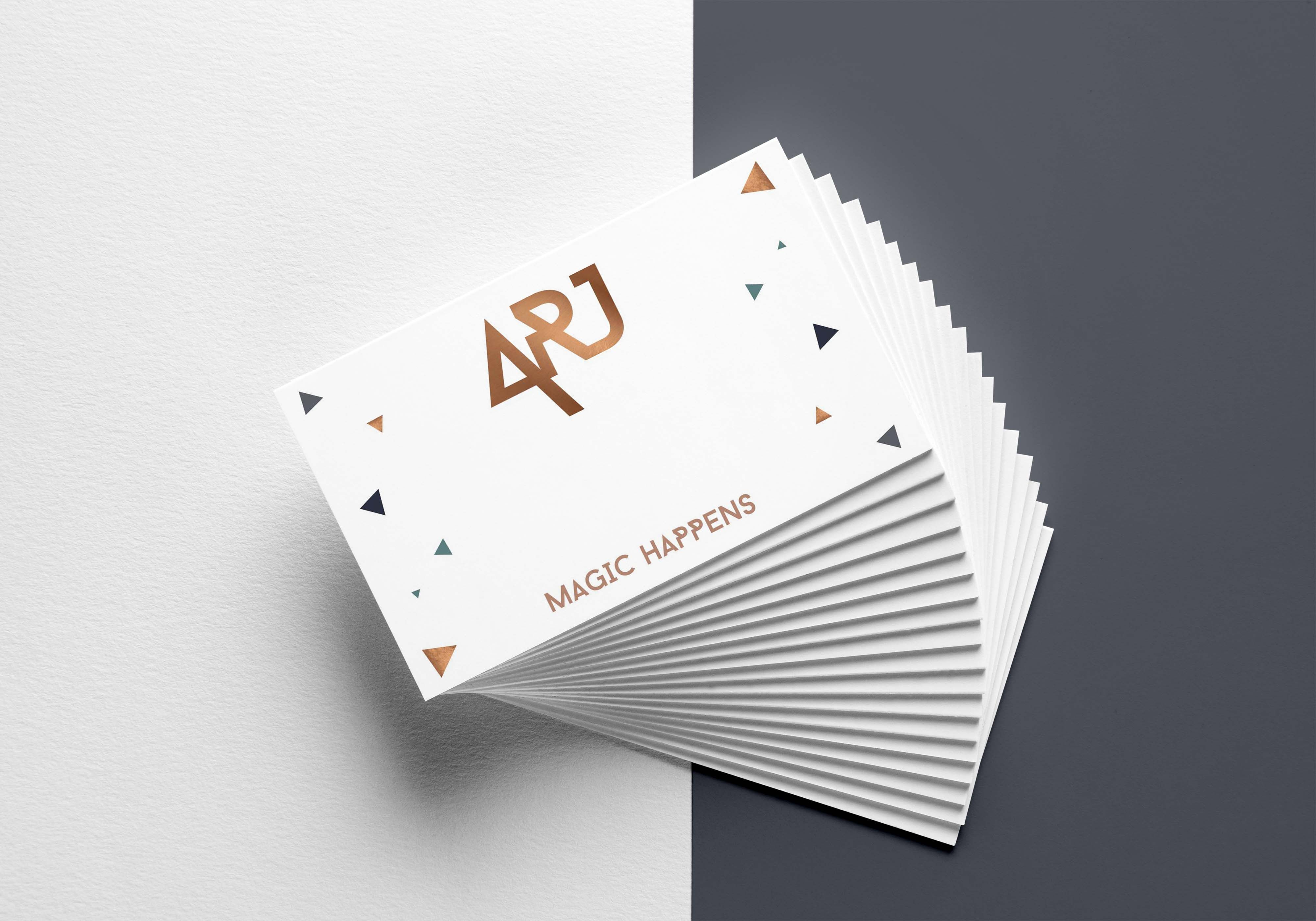 business card design for arj photography the uk and destination