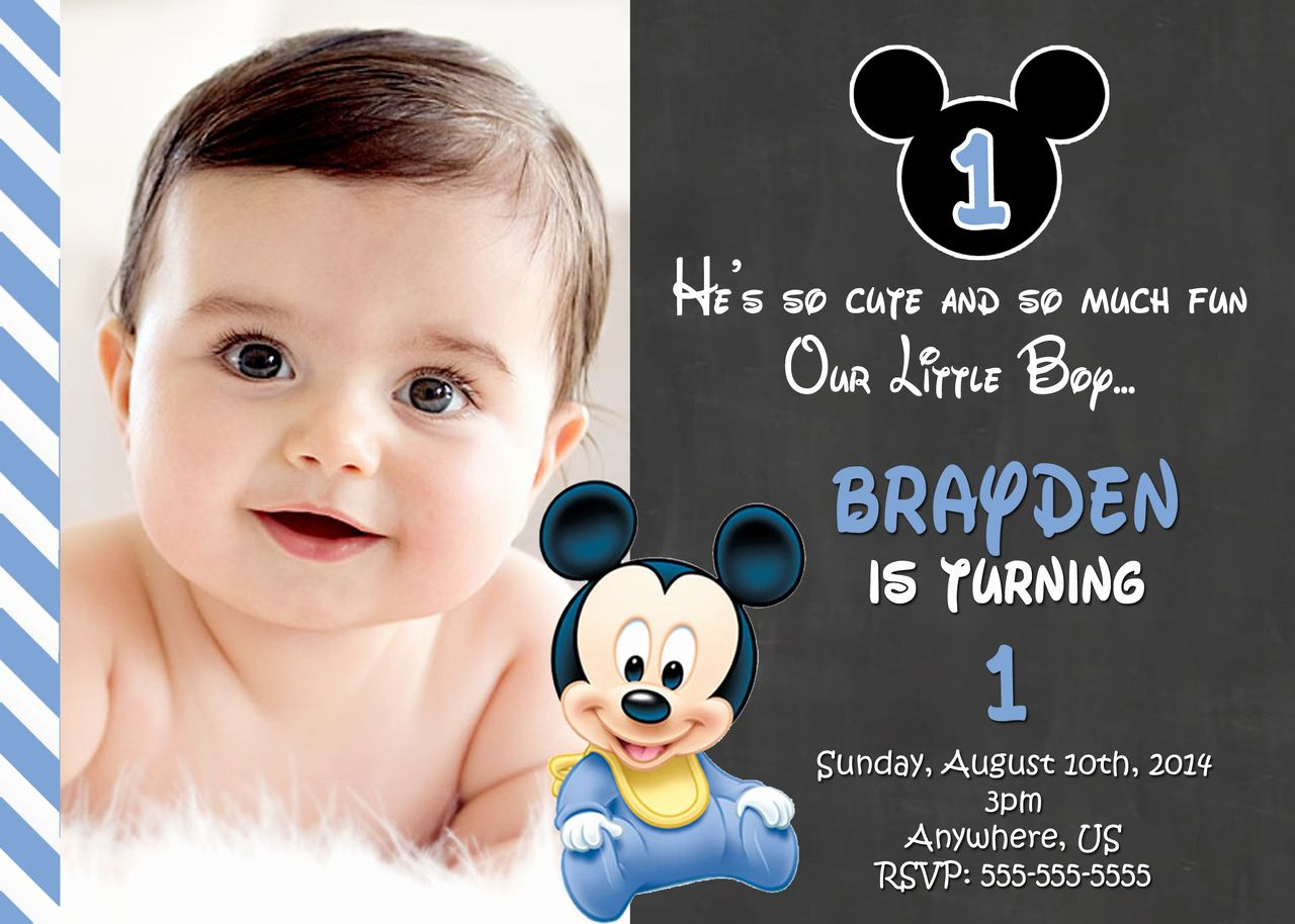 Mickey Mouse Invitation Maker Luxury Free Printable Mickey Mouse 1st Birthday Invitations 1st Birthday Invitations Boy Birthday Invitations Birthday Invitation Card Template