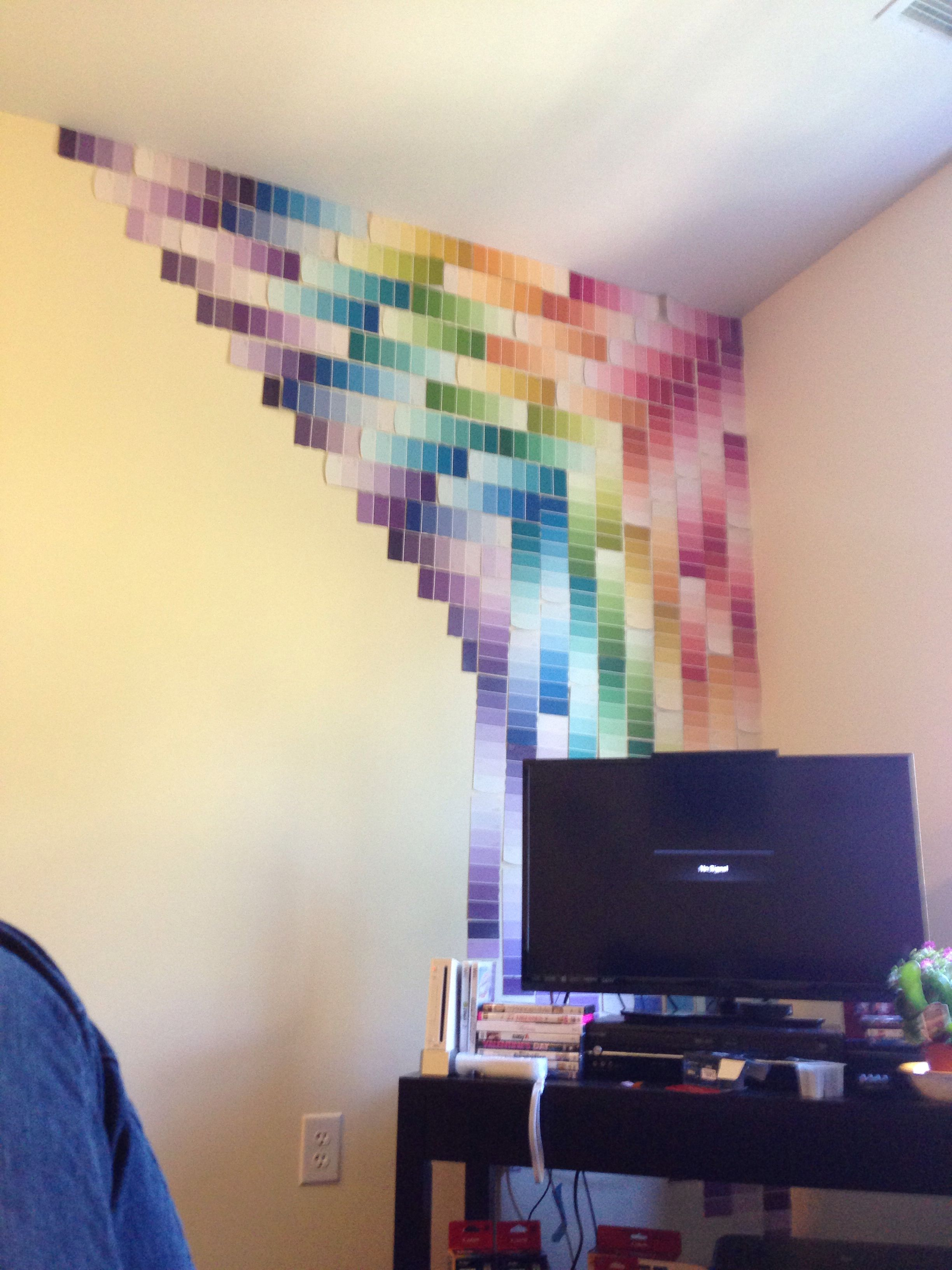 Such color. Much wow. Dorm decorations, Paint chip art