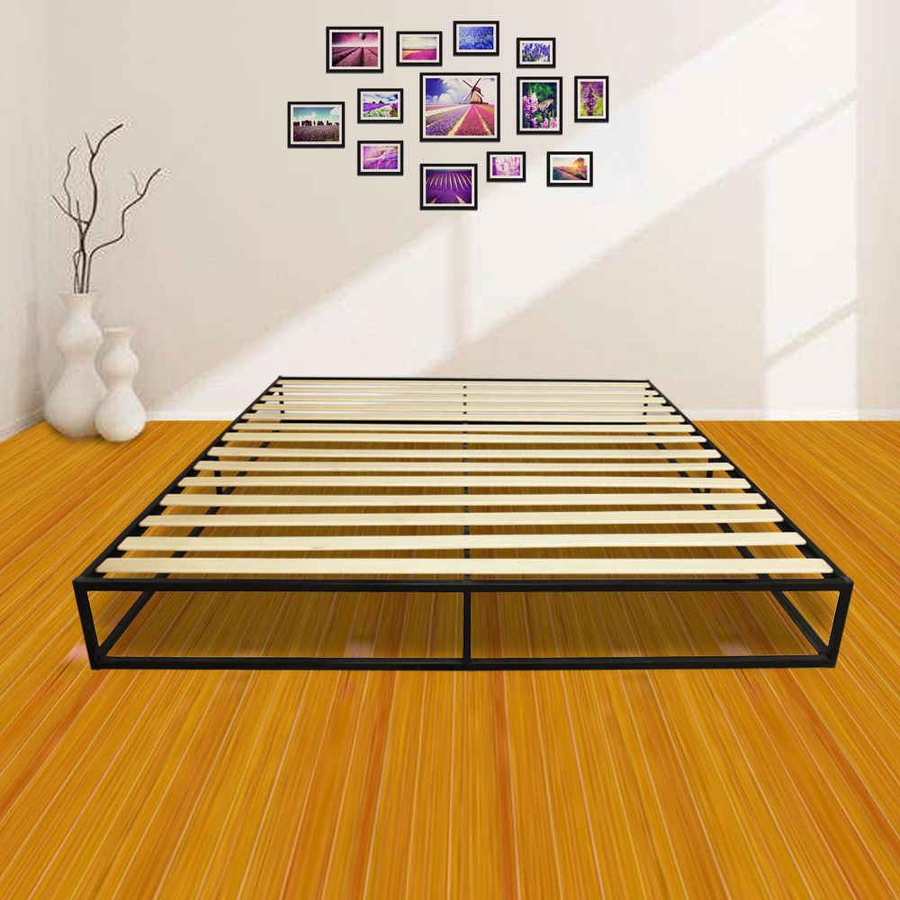 Simple Basic Iron Metal Bed Frame Wood Slats King Modern Home