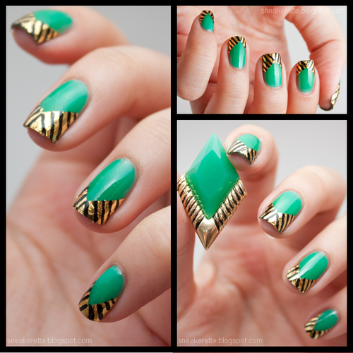 thesneakerette:    Gold Leaf Chevron Nails    I am IN LOVE with these! Btw if you don't follow thesneakerette yet, you should! She does awesome work and she's a very cool lady.